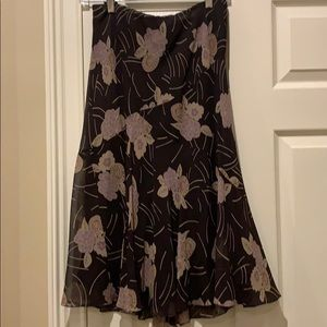 Anne Klein Silk Patterned Midi Skirt